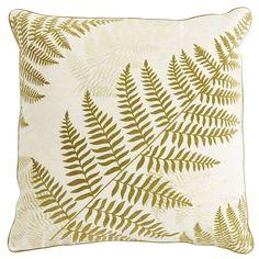 Spring Garden Flocked Fern Oversized Pillow