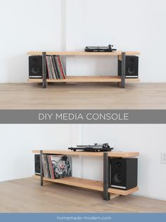This DIY Media Console is made out of a 2x12 and angle irons and the shelves were designed to store vinyl records. For more information go to HomeMade-Modern.com