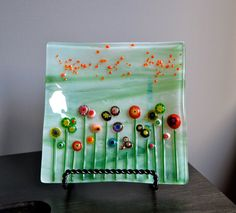 Wildflowers Fused Glass Plate by dortdesigns on Etsy, $20.00