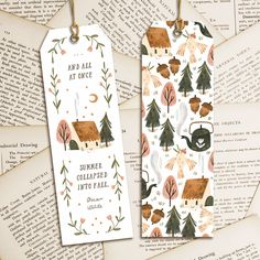 """""""And all at once, summer collapsed into fall."""" Best autumn theme pattern I'd ever seen this year 🍁💕 . Double tap if you love journaling! Creative Bookmarks, Diy Bookmarks, Watercolor Bookmarks, Watercolor Paintings, Watercolour, Bookmark Craft, Bookmark Ideas, Arte Sketchbook, Bullet Journal Art"""