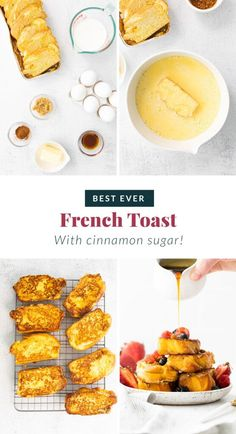 It's time to whip up a batch of the Perfect French Toast. Made from 5 simple ingredients, and ready to enjoy in under 30 minutes. Brunch is served! Perfect French Toast, French Bread French Toast, Breakfast Bake, Sweet Breakfast, French Toast Ingredients, Toast In The Oven, Sunday Recipes, Healthy Banana Bread, Healthy Breakfast Smoothies