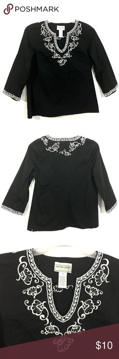"""Victor Costa Embroidered Tunic  Top Victor Costa Occasion Womens Medium Black Embroidered Top Stretch   Pre-Owned 97% Cotton 3% Spandex  Approximate Measurements Laying Flat:  Armpit To Armpit 19"""" Length From Top Of Shoulder- 24"""" Sleeve-18.5""""  Smoke & Pet Free Victor Costa Tops Tunics"""
