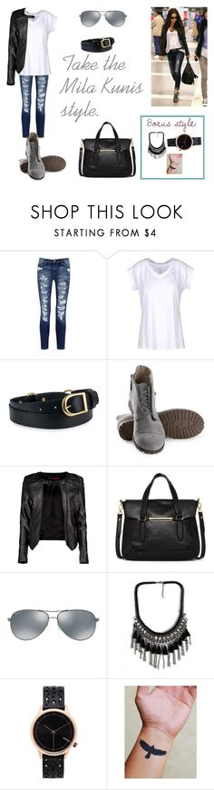 """*Mila Kunis style.*"" by lucieprettyliars ❤ liked on Polyvore featuring Current/Elliott, NIKE, Olsen, Boohoo, Danielle Nicole, Ray-Ban and Komono"