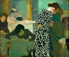 """artist-vuillard: """" The Flowered Dress via Edouard Vuillard Size: 38x46 cm Medium: oil on canvas"""""""