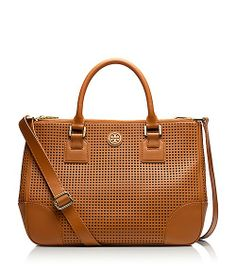 Tory Burch Robinson Perforated Double Zip Tote