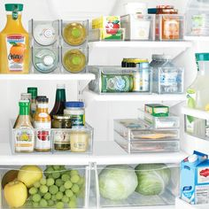 I love the way this is organized. I think the bins are a great idea and will keep for a longer organized fridge (few more photo's on site)