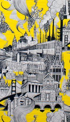 Smoke Stack City - Alexander Henry Fabrics