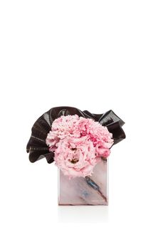 Pink lisianthus and black cordyline on pink marble plexiglass vase #ArmaniFiori