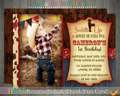 Western Cowboy Party Photo Invitation: DIY Invite Printing with FREE Reverse File and Thank You Card!