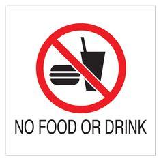 "10 1/2"" Sq Plastic Sign-No Food or Drink with Symbol | Signage | Upbeat.com"