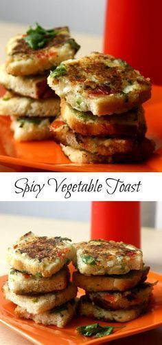 spicy vegetable toast - perfect for breakfast, kids school lunch box, tea time snack. Healthy vegetarian kid friendly recipe.