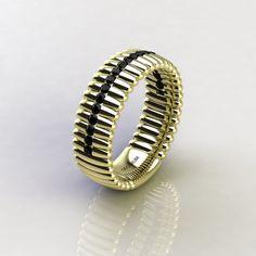 Decorum Mens 14K Yellow Gold Black Diamond Modern by DecorumRings