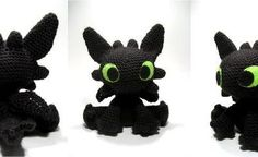 """Good morning Good Morning! Another Fantasy Friday and I am bursting with excitement to share this amigurumi dragon with you. It's Toothless! The black dragon from the """"How to Train your Dragon"""" mov..."""