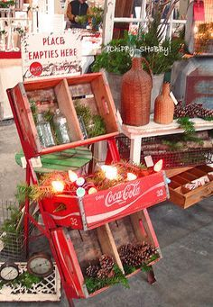 Old coca cola wooden boxes table bottles