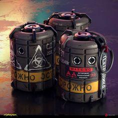 ArtStation - Grenades Original Concepts - Cyberpunk 2077, Filippo Ubertino Sci Fi Weapons, Armor Concept, Weapon Concept Art, Fantasy Weapons, Military Guns, Military Art, Airsoft, Arduino Display, Ww2 Propaganda