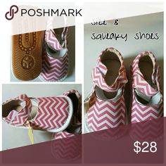 Price Drop! New girls pink chevron squeaky shoes Brand new canvas squeaky shoes   Marked as a size 7 but runs one size big  Why squeaky shoes?  Fun, Adorable, and Function!  Your child will be filled with excitement and joy as they learn to walk in our Squeaky Shoes!  With every step they take, the shoes will squeak making learning how to walk fun!  Our shoes stimulate and motivate the pre-walker and beginner walker. Our soles are softer, lighter, and more flexible.   Squeakers are…