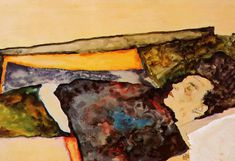 The Painting - The Artist Mother Sleeping 1911 by Schiele Egon