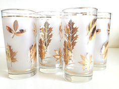 Vintage Frosted Gold Pine Cone Glasses  Mid by 4EnvisioningVintage
