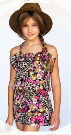 Truly Me by Hannah Banana Tween Girls Kiowa Leopard Print Floral Jumper Romper Shortall