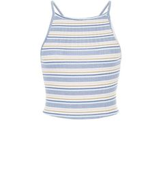 bab644782ad46d New Look Petite Blue Stripe Ribbed Crop Top ( 3.91) ❤ liked on Polyvore  featuring