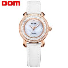 71.28$  Watch here - http://alixb8.worldwells.pw/go.php?t=32732490915 - DOM Ladies Watch Women 3 Colors Leather Band Quartz Watch Shell Dial with Rhinestone Clock Women Watches Fashion Bracelet Watch 71.28$