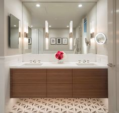 Artistic Tile I The Duomo pattern in grey is the perfect fit for a clean and contemporary bath, like this private residence in the Four Season San Francisco.  Bath designed by St. Dizier Designs in collaboration with Pam Katz of our San Francisco showroom. Renovation by Nob Hill Construction. Photo by Patrick Argast.