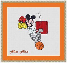 Cross Stitch Pattern Mickey Mouse Basketball Player superhero