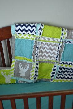 Deer Woodland Baby Boy Crib Bedding For Nursery in Lime Green, Grey, Navy Blue