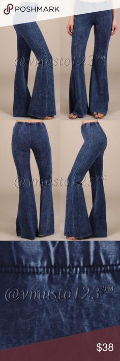 """‼️SZ SMALL LAST- DENIM COLOR BELL BOTTOM PANTS 🇺🇸MADE IN USA- High quality, gorgeous, Denim look (NOT REAL DENIM, these are soft like a thicker legging) knit lounge pants. Fits true to size S(2-4) M(6-8) L(10-12) Price absolutely firm unless bundled. Mineral washed bell bottom pants with elastic waist.Each item is hand-dyed,should expect variations. 93% cotton, 7% spandex. Apprx 32"""" inseam ValMarie Boutique Pants"""
