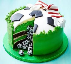 Best Soccer Birthday Cake Design with Scarf on The Cake