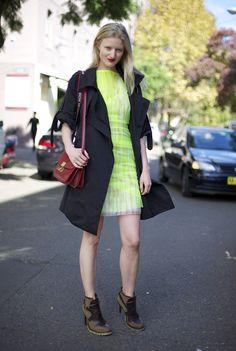Black Coat over Neon Sheer RUE DU MAIL Dress, Red CELINE Bag