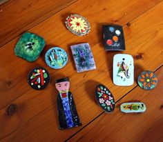 hand made enamel brooches