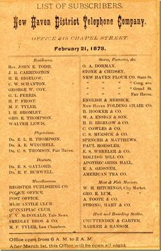 1878 New Haven District Telephone Company List Of Subscribers First Book
