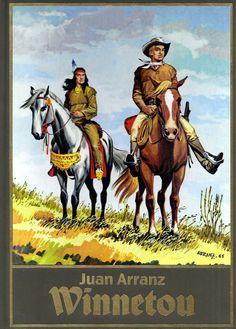 """10. November 2015 -  Juan Arranz: Winnetou 2. Band. Juan Arranz ist ist ein spanischer Zeichner von Karl-May-Comics. 1932 in Madrid geboren musste er nach anfänglichen Erfolgern als Karikaturist in Spanien musste er während der Franco-Diktatur nach Frankreich fliehen, wo er in den 60er Jahren für den Verlag DeSpaarnestad einen """"Winnetou""""-Comic zeichnete. . Eine limitierte neue Auflage (zwei Bücher) ist kürzlich im Verlag comicpülus+ erschienen."""