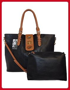 d938f3fac9c8 kathy ireland Black Super Soft Premium Vegan leather Tote Handbag with  Toggle Strap Closure and Mini Bag pc set