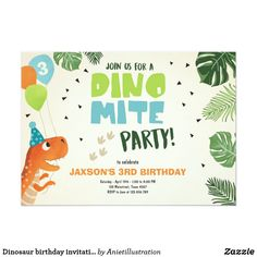 Dinosaur birthday invitation Dino mite T-Rex party