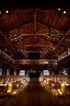 35 New Ideas For Wedding Barn Ceremony Candles Barn Wedding Lighting, Barn Wedding Venue, Wedding Ceremony, Candlelight Wedding, Pond Wedding, Indoor Ceremony, Lodge Wedding, Event Lighting, Barn Lighting