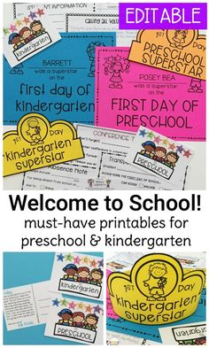 Our EDITABLE Welcome to School pack for preschool & kindergarten teachers includes printable first day certificates, crowns, welcome postcards, and more!