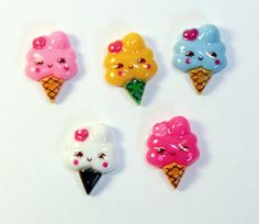 Kawaii Resin Ice Cream Cabochons 5 pcs. $3.00, via Etsy.