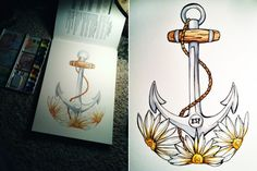 vii. watercolor, ink, anchor, daisies, daisy, flower, nautical, initials, kaia danielle illustrations.