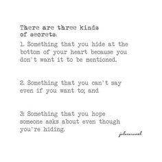 Three kinds of secrets