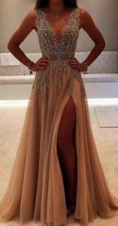Champagne Prom DressesDeep V-neck Prom DressSparkly Prom DressesFront Split Prom DressEvening DressesLong Prom DressesProm Dresses 2017Party DressesModest Prom Gowns via @sunjayjk #promdresses