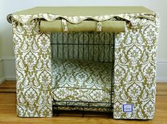 Crate Cover! Great way to make an eyesore [metal crate] more appealing for you and your furry friend!