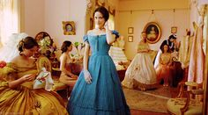 Meg (Trini Alvarado) in Little Women. Oddly enough, this afternoon dress suits her better than the beige ballgown they put her in later.