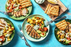 Greek spiced souvlaki chicken, lemony roasted potatoes and DIY tzatziki! Don't forget the tomato and cucumber chopped salad to round out this weeknight winner! Greek Potatoes, Lemon Potatoes, Roasted Potatoes, Chicken Spices, Baked Chicken, Sauce Tzatziki, Greek Spices, Souvlaki Recipe, Greek Chicken Souvlaki