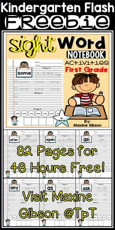 Free Kindergarten Sight Word Fluency and Writing Practice./ Learn to read, and write write sight word with notebook formatted worksheets. / Kindergarten / First Grade / Sight Word Fluency/ Sight Word Activities Worksheets / Sight Word Practice/ Writing Prompts/ Sight Word Puzzle/ Sight Word Dolch Pre-Primer / Sight Word Dolch Primer / Sight Word Dolch First Grade/ Printables / Growing Bundle / No Prep / / Handwriting Practice/ Sight Word Word Search / Printables / Color and Non Color Pages.