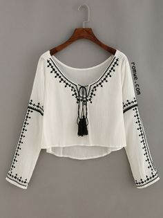 Embroidery Tassel-Tie Neck High Low Blouse
