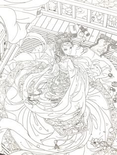 Dream Of Red Mansion Chinese Coloring Book For Adult Livre de coloriage chinois Dream of Red Mansion Free Adult Coloring, Adult Coloring Book Pages, Colouring Pages, Coloring Books, Bird Drawings, Colorful Drawings, Anime Sketch, Pictures To Draw, Drawing Pictures