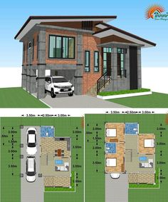 Modern Loft-Style Multi-Storey House Plan This multi-storey house plan has all the amenities and special features that your family needs in a 160 square meters living space. Simple Bungalow House Designs, Loft House Design, 3 Storey House Design, Bungalow Haus Design, Two Story House Design, Simple House Design, Modern Small House Design, Three Bedroom House Plan, Cottage House Plans