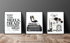 Set of Three 24X36 inches fashion inspired posters Chanel, Diptyque, Christian Louboutin, Printed and delivered.  Black and white, with a slight hint of color. Silver on the ampersand is an effect only, a photo of silver foil.  This listing is for all the above 3 prints, but if you would like to swap around colors or flower styles, just message me and I will be happy to list a new combo for you..  - Dimensions: 24X36 inches  - Other Dimensions: 8x10, 12x18,16x20,18x24 are available here…